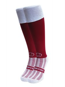 WackySox Rugby Socks, Hockey Socks - Maroon with White Turnover Top