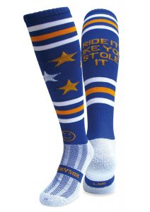 WackySox Equestrian Riding Socks - Ride It Like You Stole It Royal Blue, Gold and White