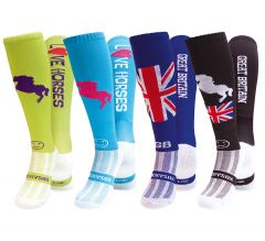 WackySox 4 for 3 Pairs Saver Pack Equestrian, Horse Riding Socks - Well Groomed
